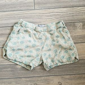 Youth Girls Shorts Peacock Feathers Print Sz 10Y